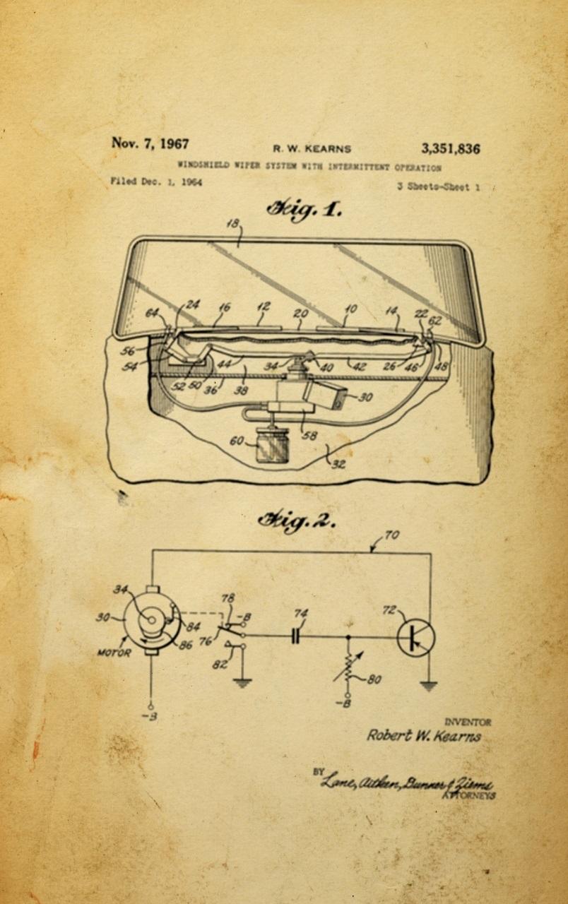 Kearns erfand das Intervallsystem für Scheibenwaschanlagen