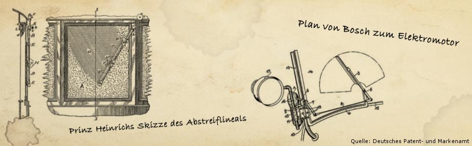 Prinz Heinrich und Bosch Skizzen für Scheibenwischer