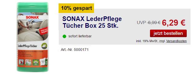 SONAX LederPflegeTücher Box 25 Stk.
