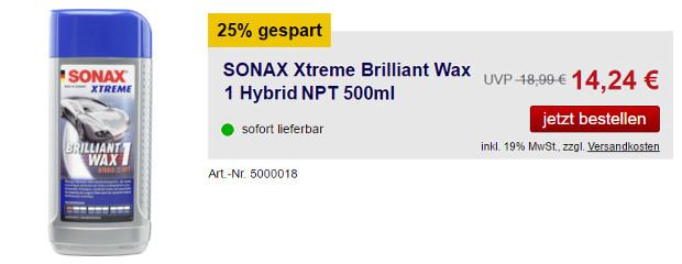 SONAX XTREME Brilliant Wax 1 Hybrid