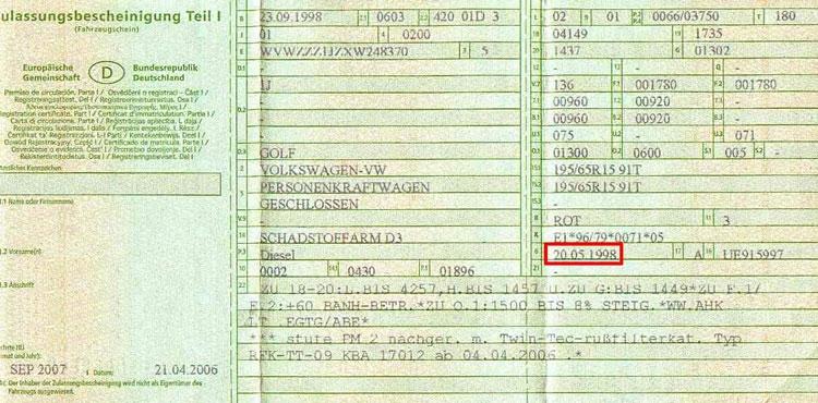 Datum-Nummern für die Zulassung von Fahrzeugen Schlagwort aus einem Mann mit Bart